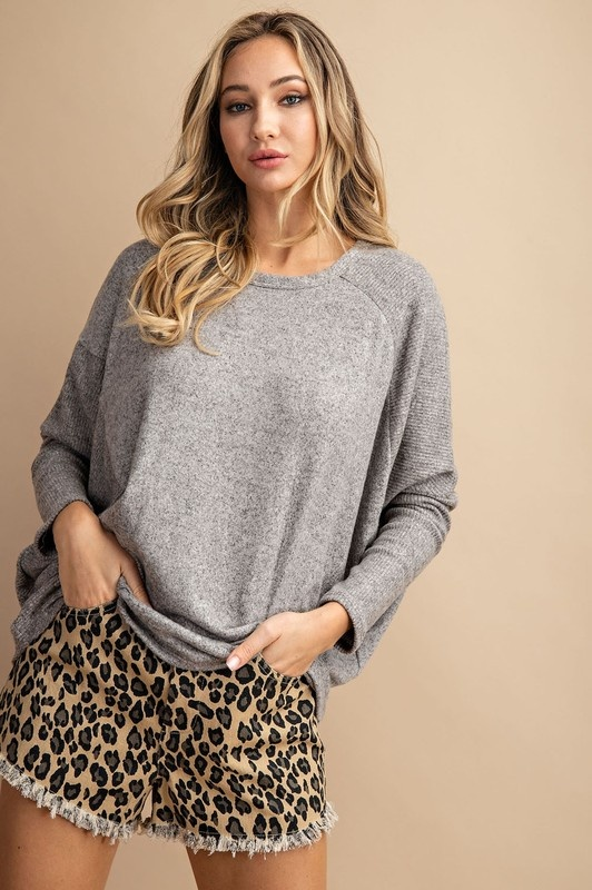 Oatmeal Dolman Sleeve Top