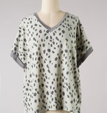 Sage Spotted SS Knit Top