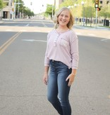 Mauve LS Button Down Knit Top