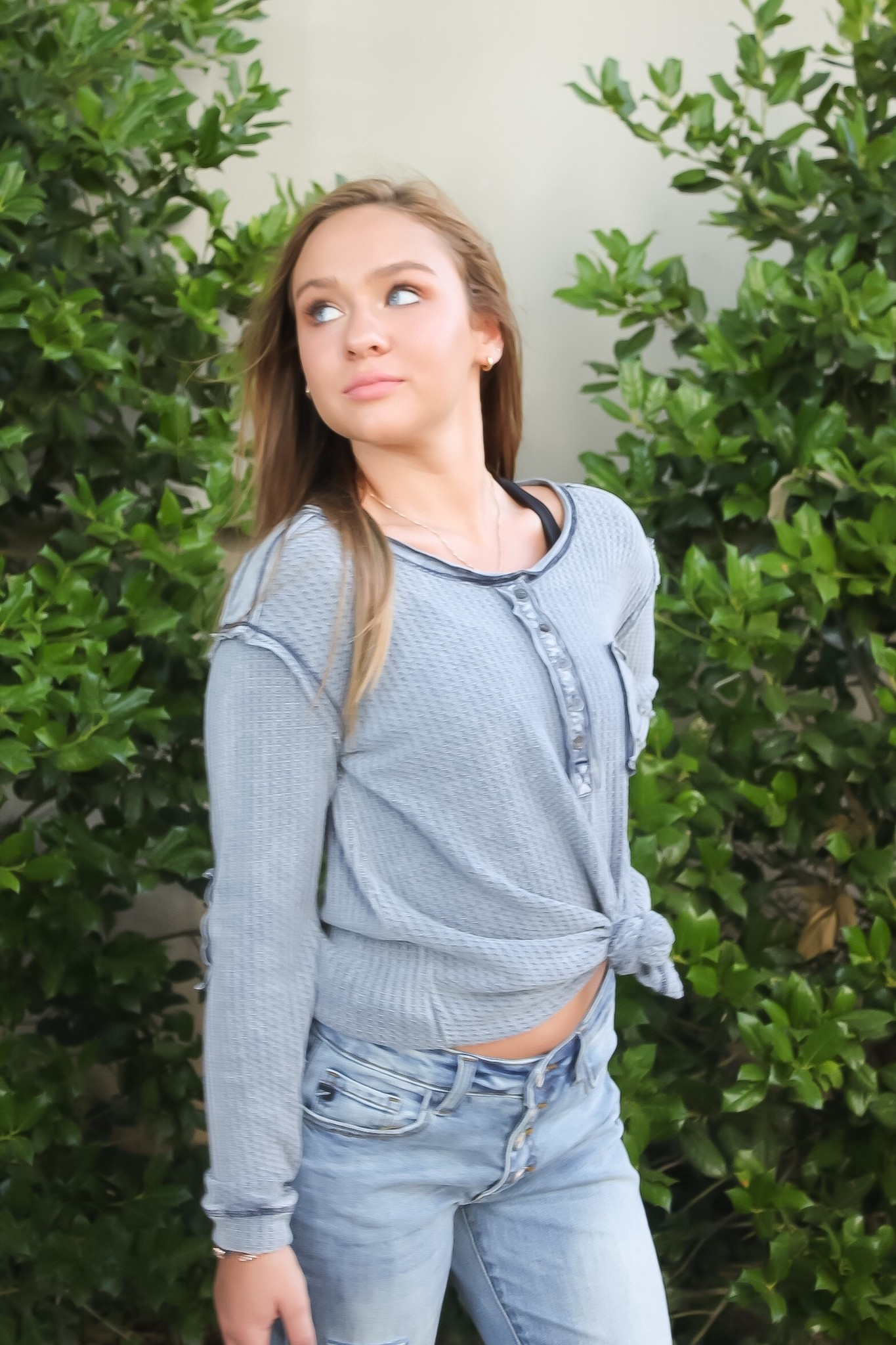 Navy LS Button Down Knit Top