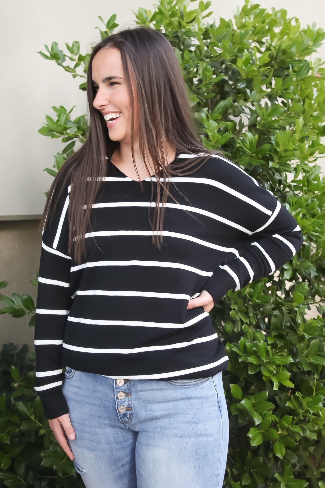 Black Striped LS V-Neck Top