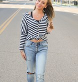 Navy Casual Striped Top