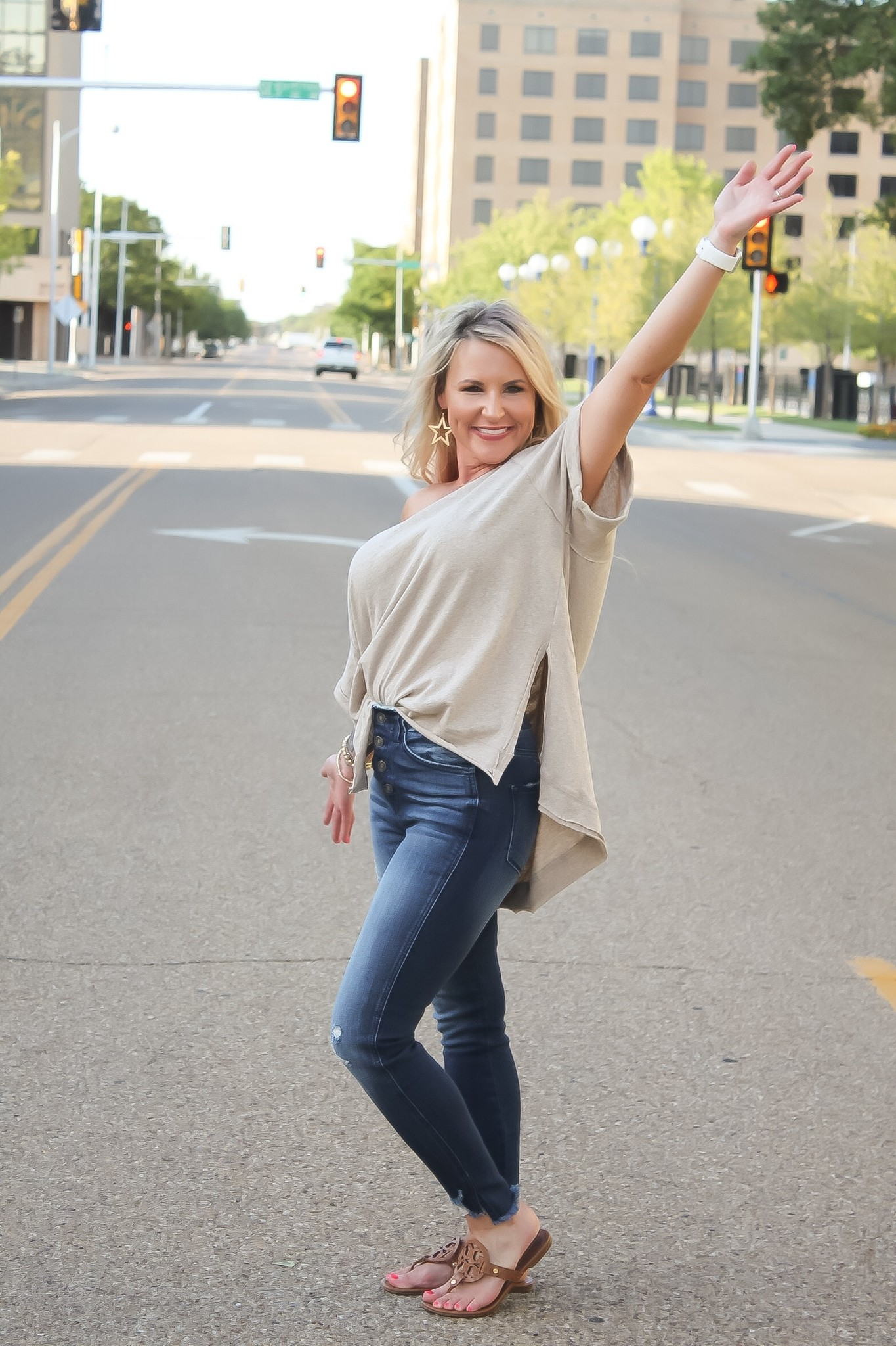 Taupe SS Side Slit Top