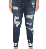 Plus Size High Rise distressed jeans