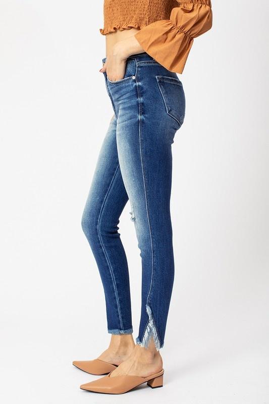 KanCan Light Wash Double Frayed Hem Jeans