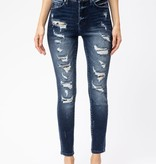 KanCan Distressed Leopard Patch Jeans