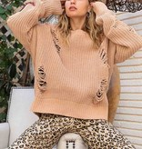 Camel Oversized Distressed Sweater