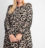 Leopard Print Pleated Dress
