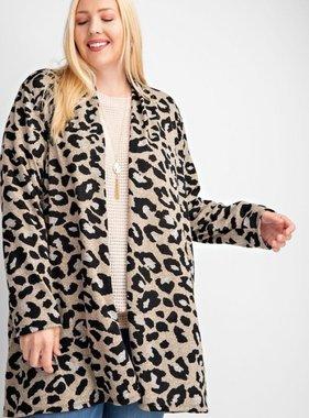 Plus Size Taupe Leopard Print Cardigan
