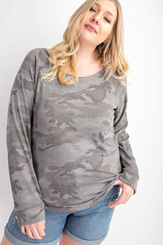 Plus Size Charcoal Camo Print LS Top