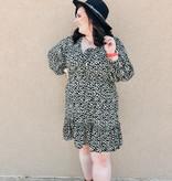 Sage Animal Print LS Dress w/ Ruffle Hem