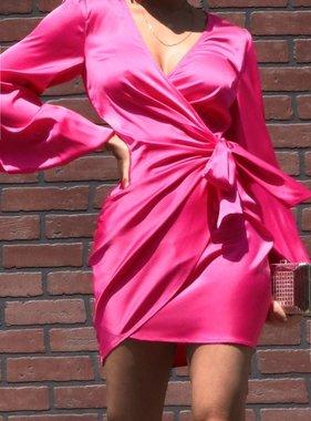 Pink Wrap Satin Mini Dress