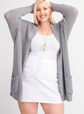 Grey LS light weight cardigan