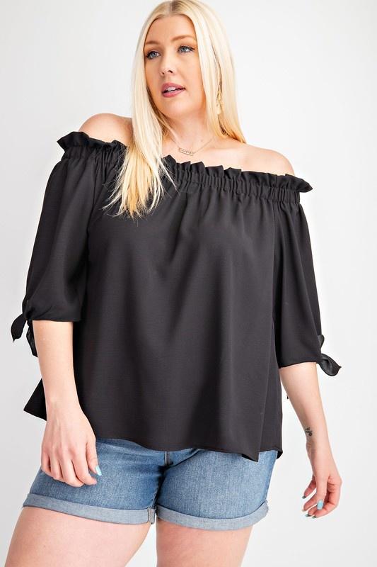Plus Size Black off shoulder elbow tie