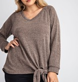 Plus Size taupe two-toned LS top