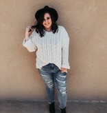 Plus size Cream Cuffed LS Chenille Cable Knit Sweater