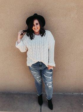 Plus size Cream Cuffed LS Chenille Cable Knit Sweater