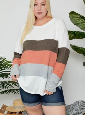 Ivory/Olive Color BLock LS Top Plus Size