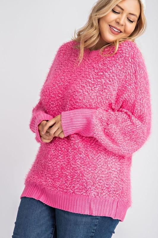 Hot Pink Popcorn Knit Sweater