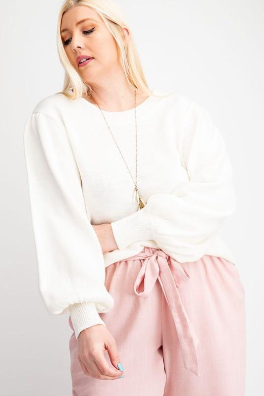 Off White Round Neck Sweater