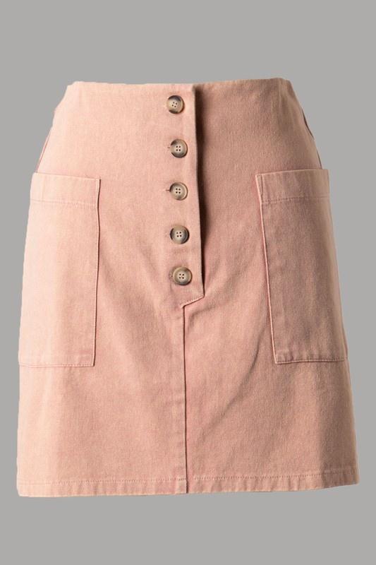 Peach Button Up Skirt