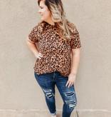 Rust Leopard Print SS Top