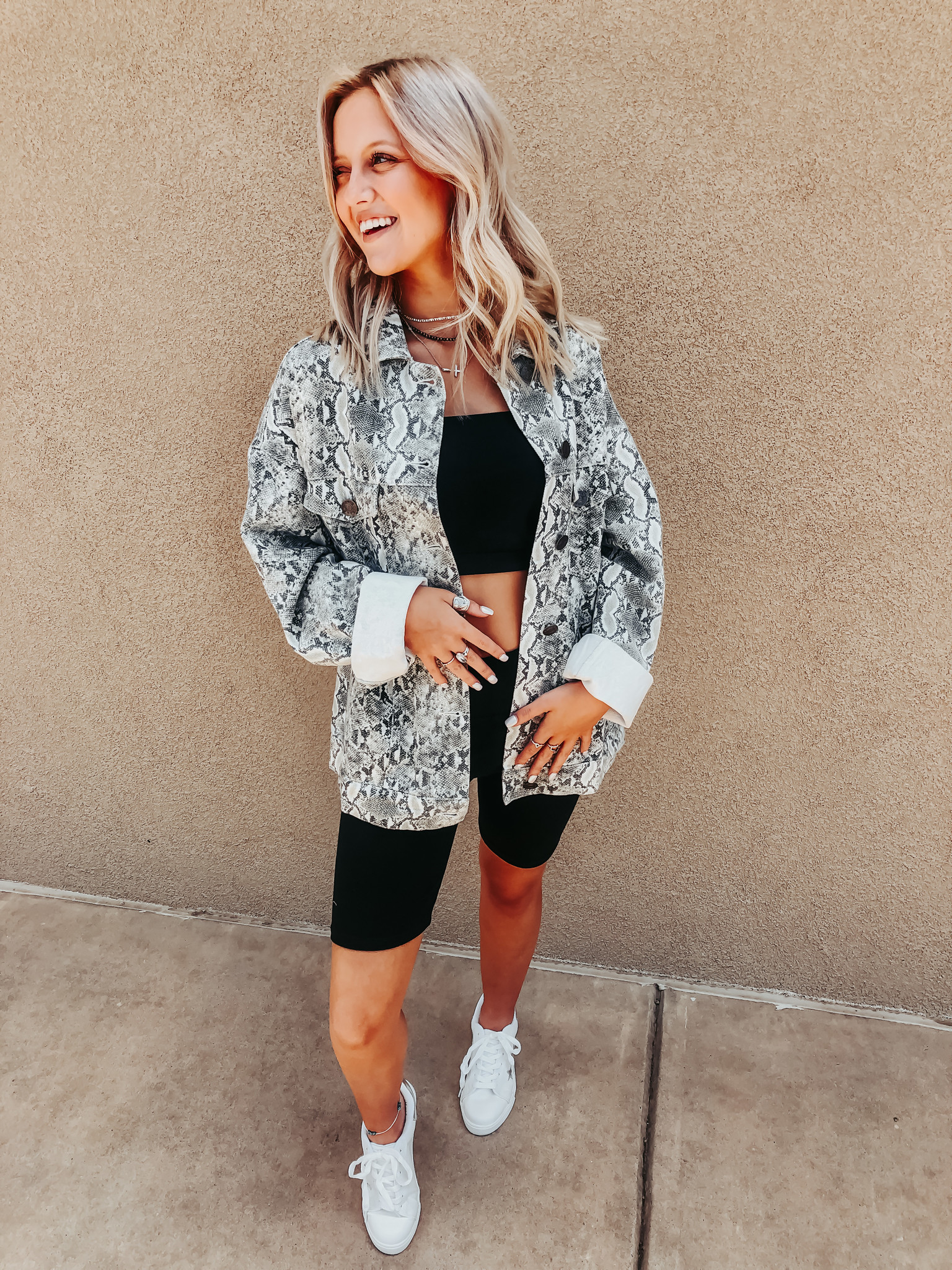 Snakeskin Oversized Jacket