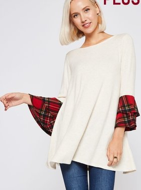 Oatmeal Plaid Bell SLeeve Plus LS Top