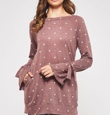 Mauve Plus Polka Dot LS Top