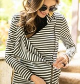 Black/White Striped Side Zip Blazer