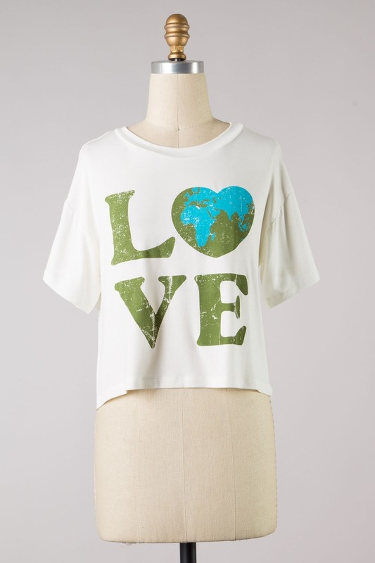 """Ivory Multi """"LOVE"""" Cropped Tee"""