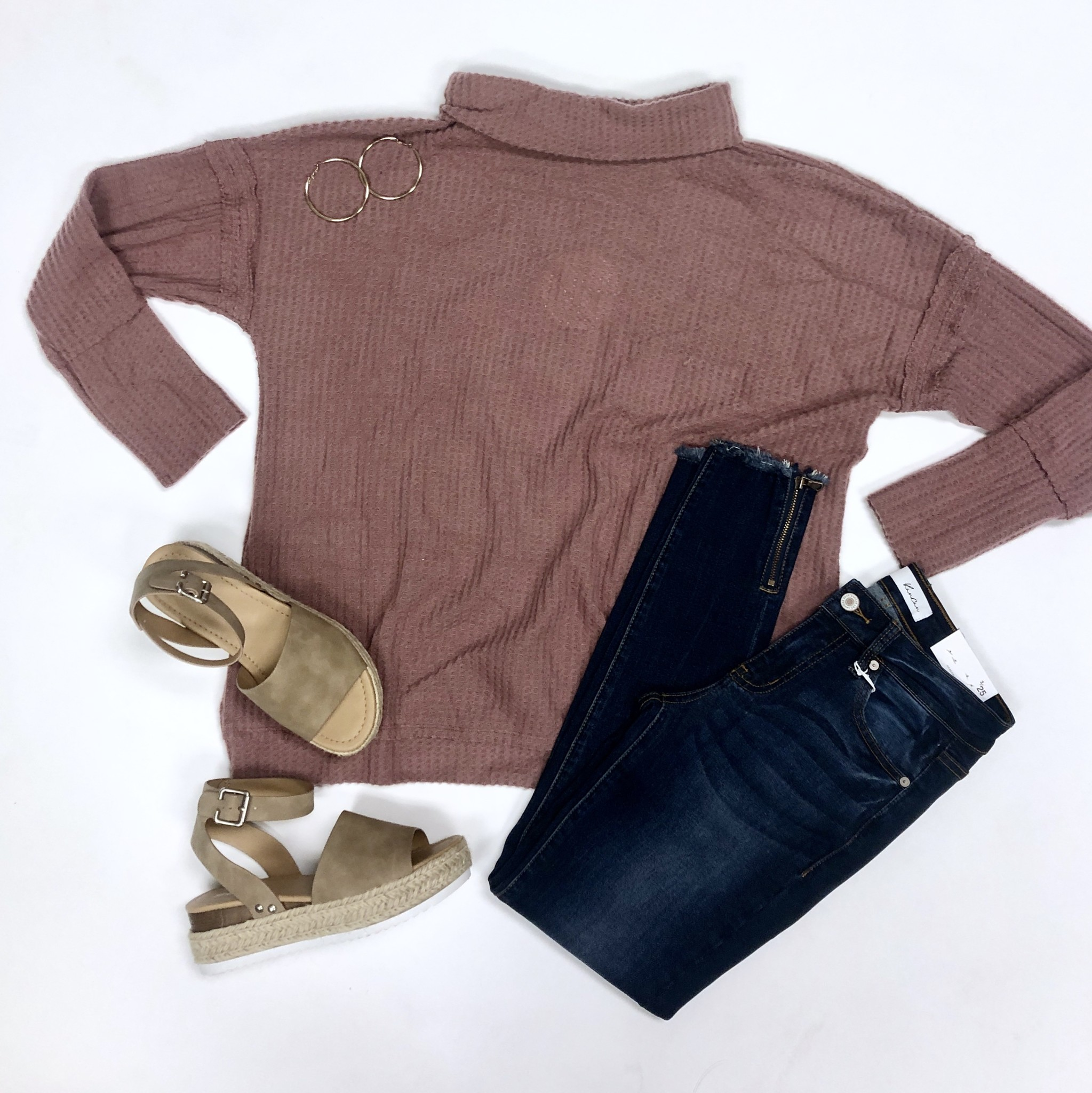 Berry Waffle Knit LS folded neck top