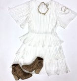 Off White Pleated Tiered Dress