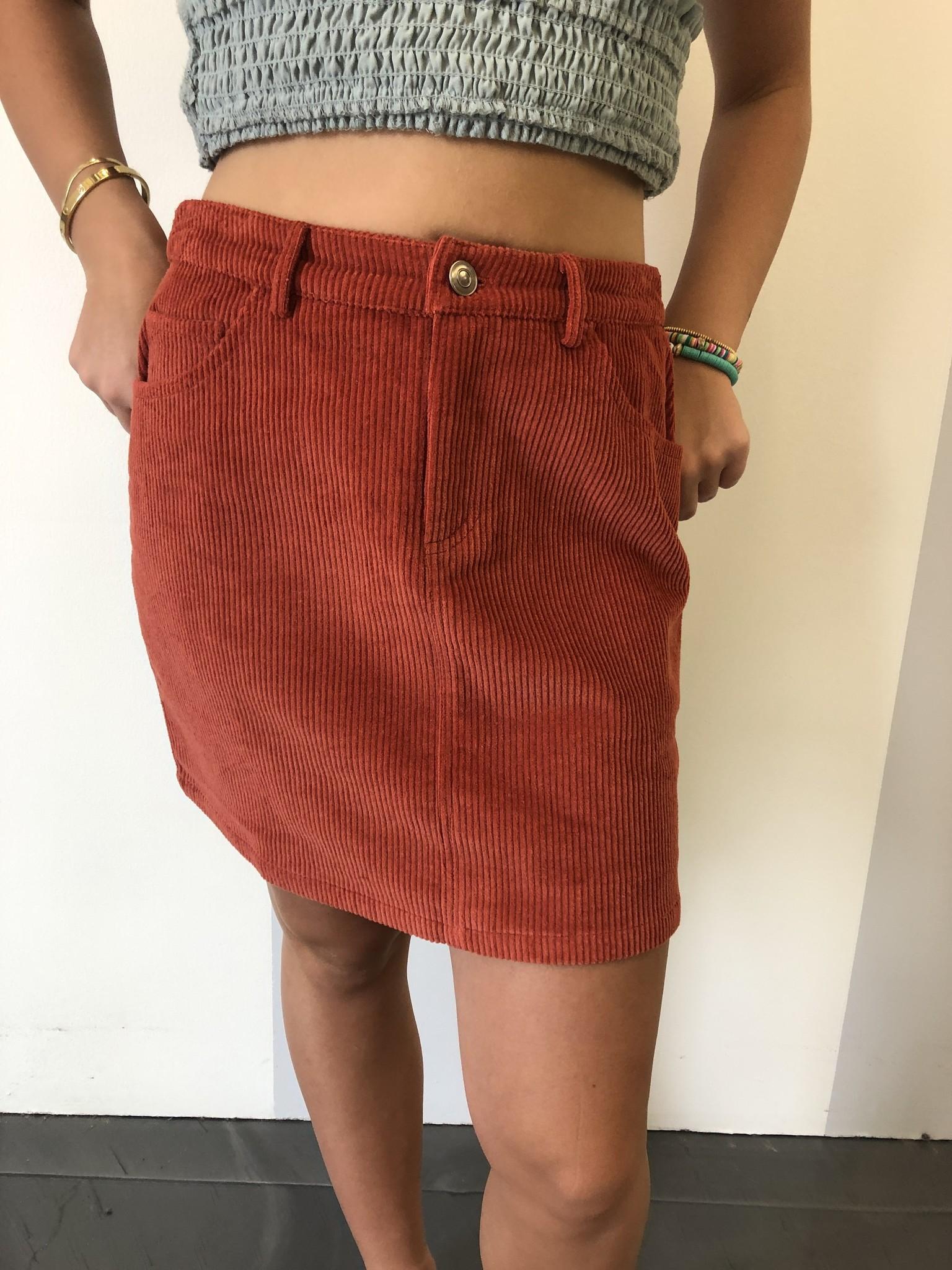 Rust Corduroy Mini Skirt