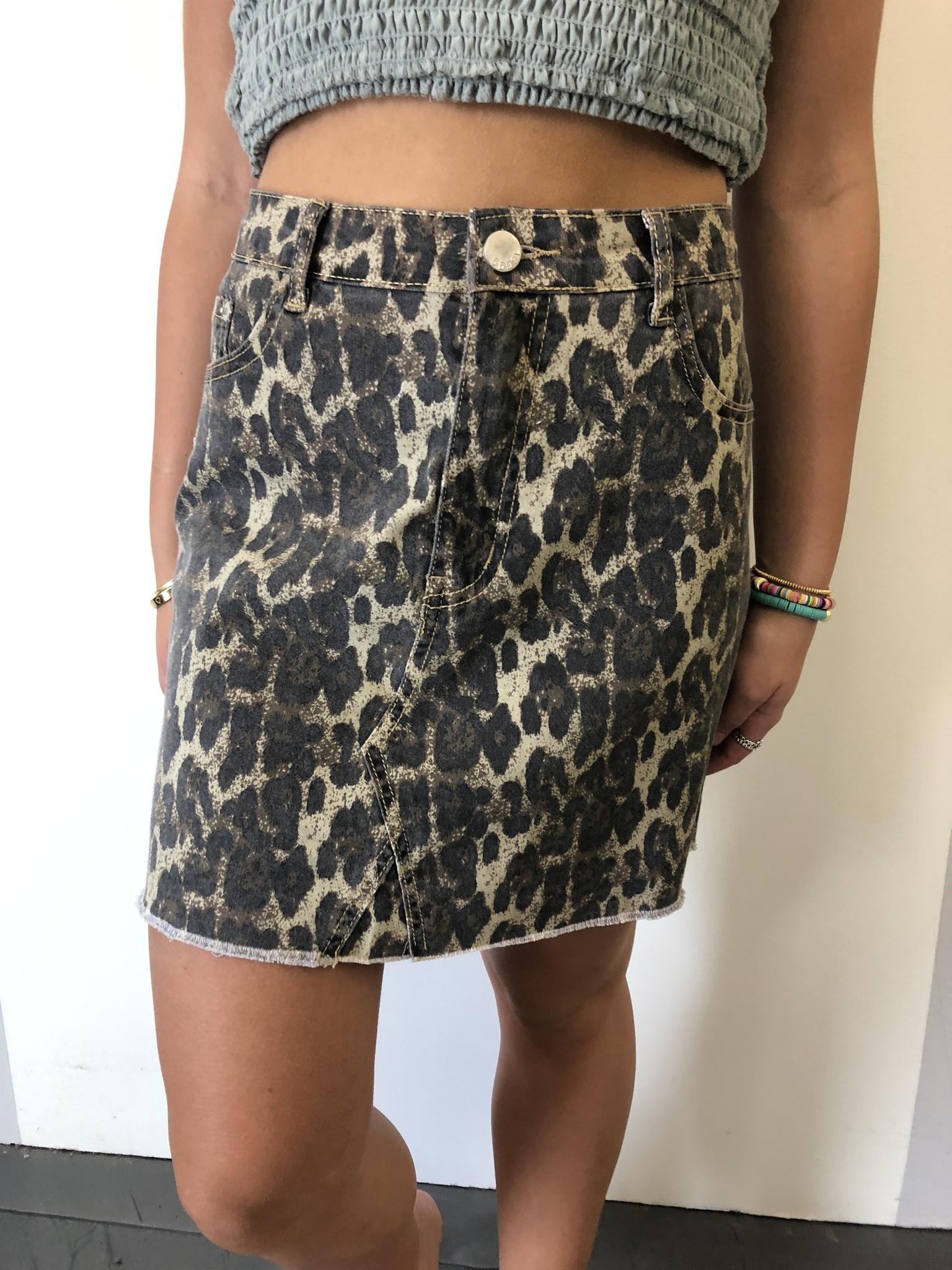 Camel Leopard Print Skirt