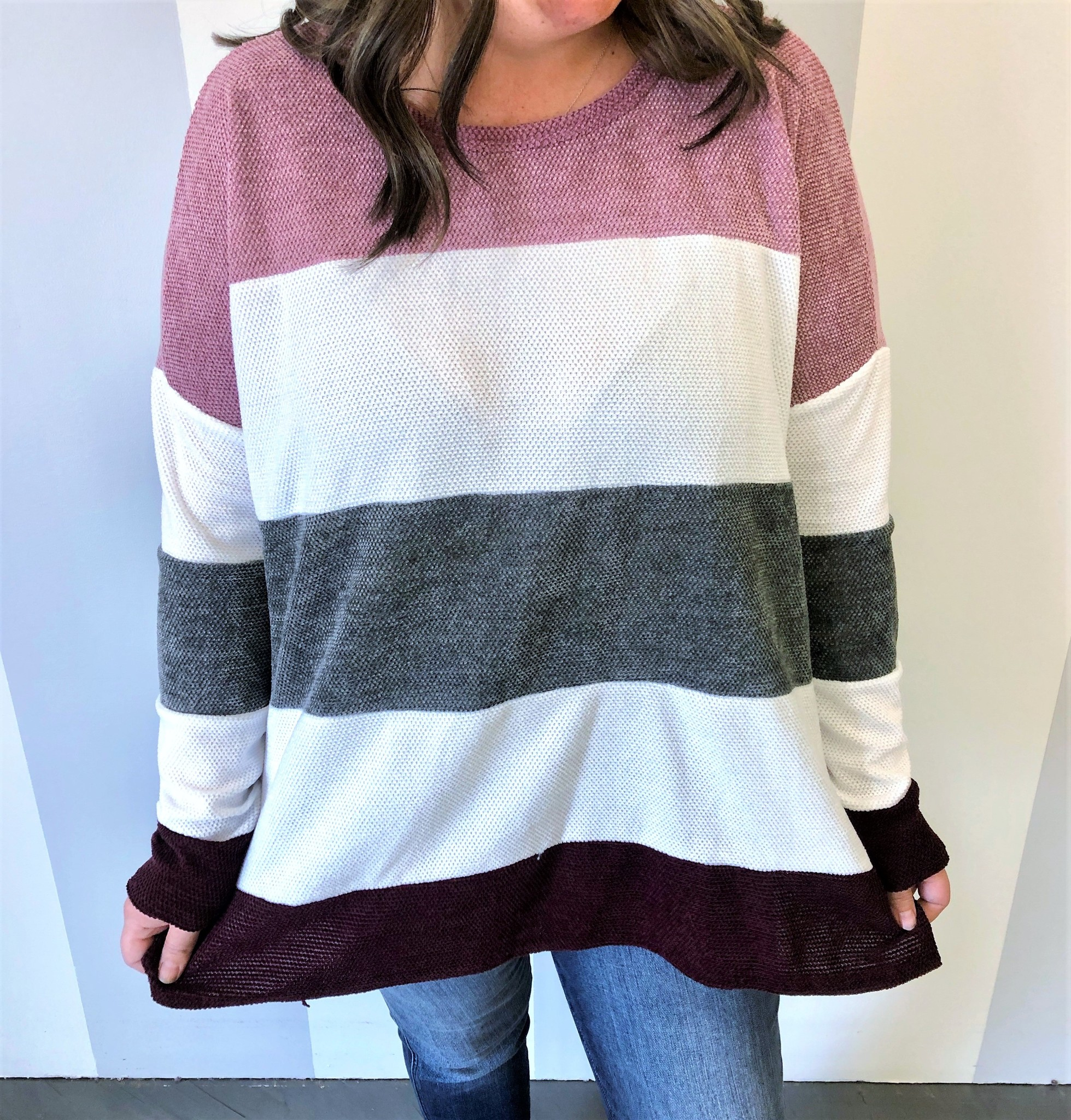 Mauve/Grey Mix Plus LS Top