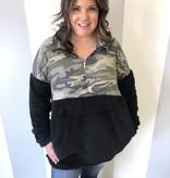Black Camo Plus Sherpa Pullover