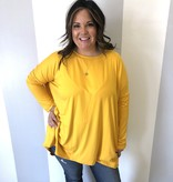 Mustard Plus Drop Shoulder Hi-Low Top