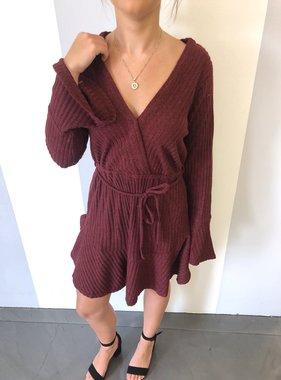 Wine Knit Bell Sleeve LS Dress