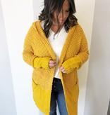 Mustard LS Fuzzy Knit Hooded Cardigan