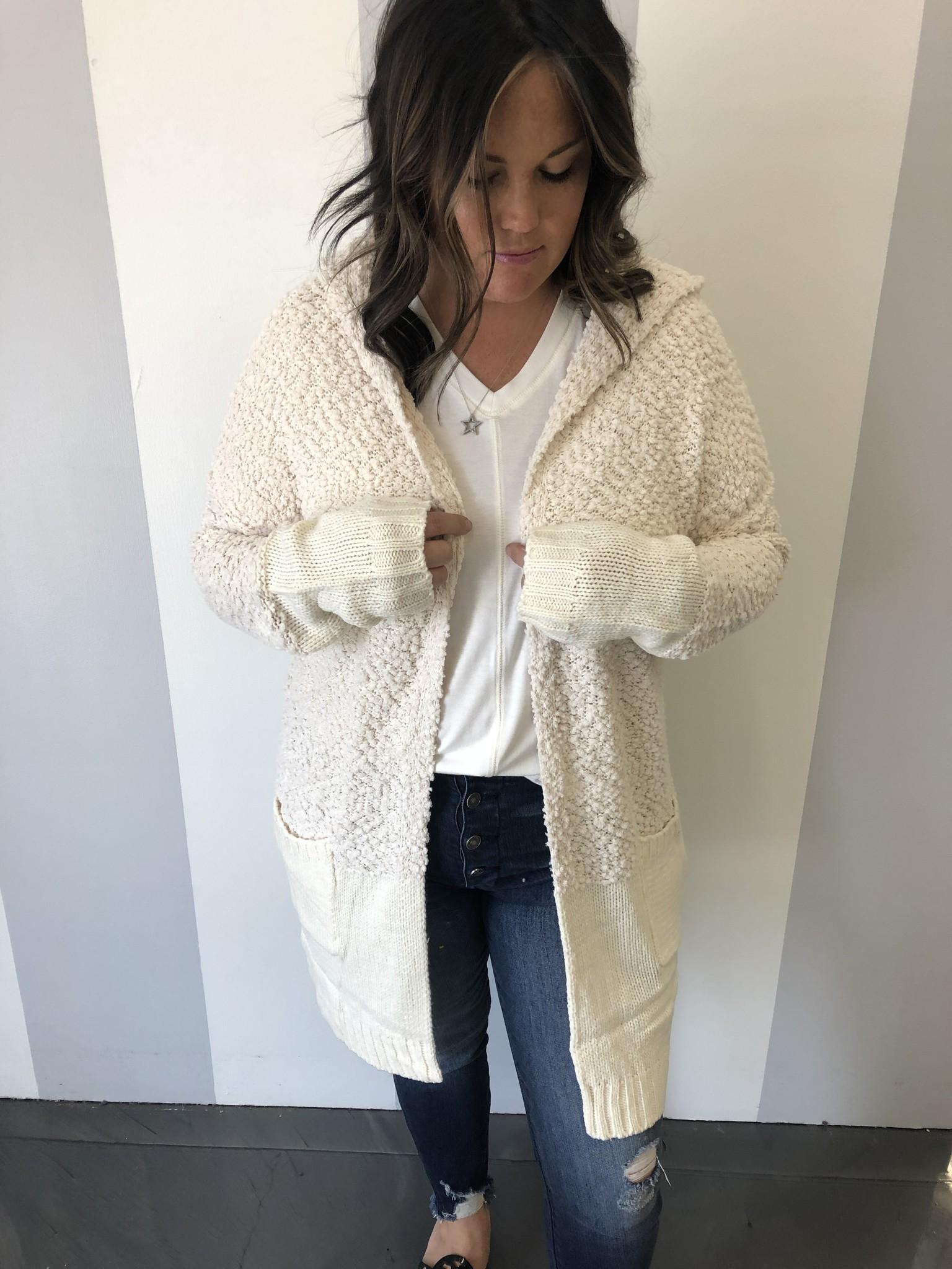 Cream LS Fuzzy Knit Hooded Cardigan