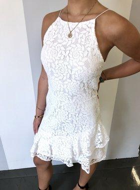 Off White Lace Flounce Hem Dress