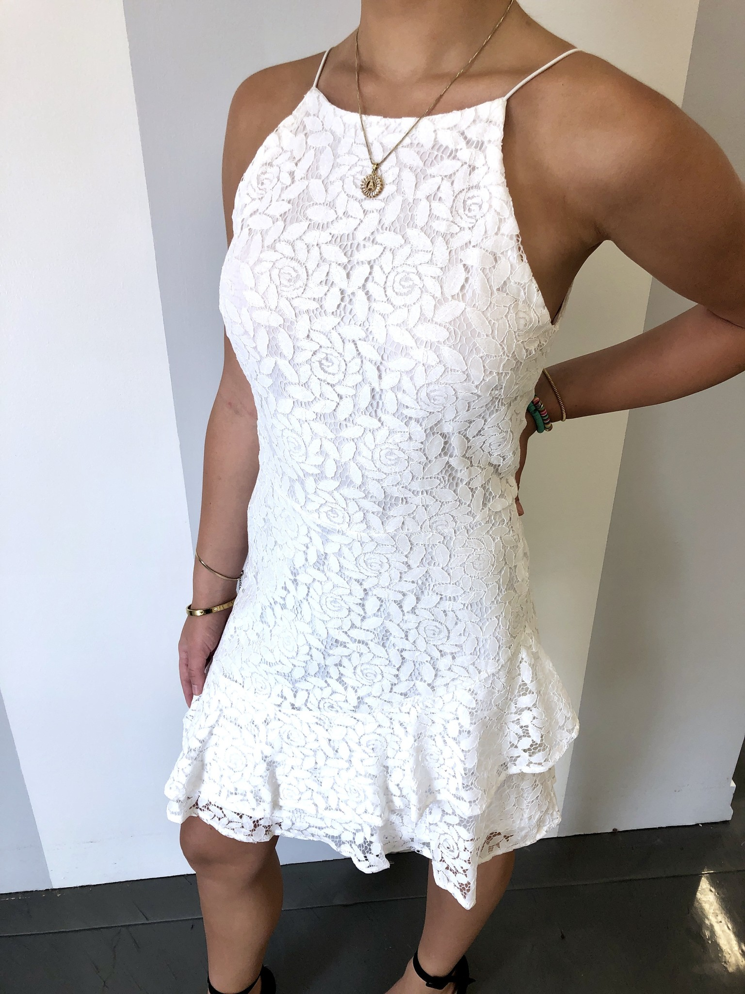 Off White Lace Flounce Hem Dress