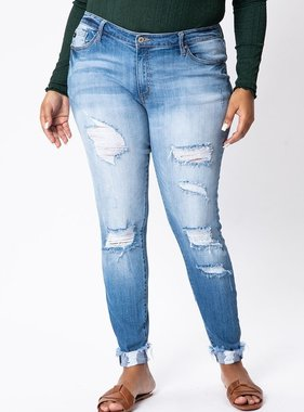 KanCan Light Wash Distressed Plus Jeans