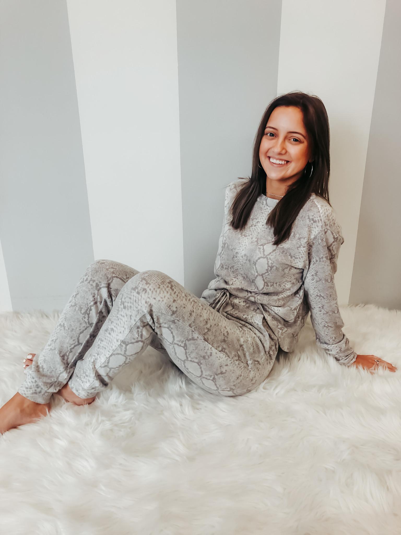 Soft Python Knit LS Lounge Top