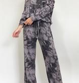 Soft Black Tie Dye Knit LS Lounge Top