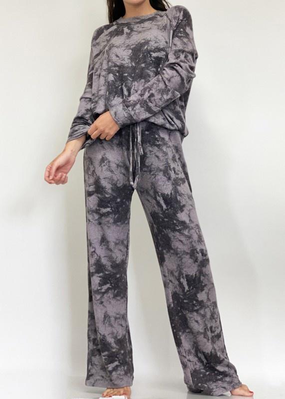 Soft Black Python Wide Leg Lounge Pants