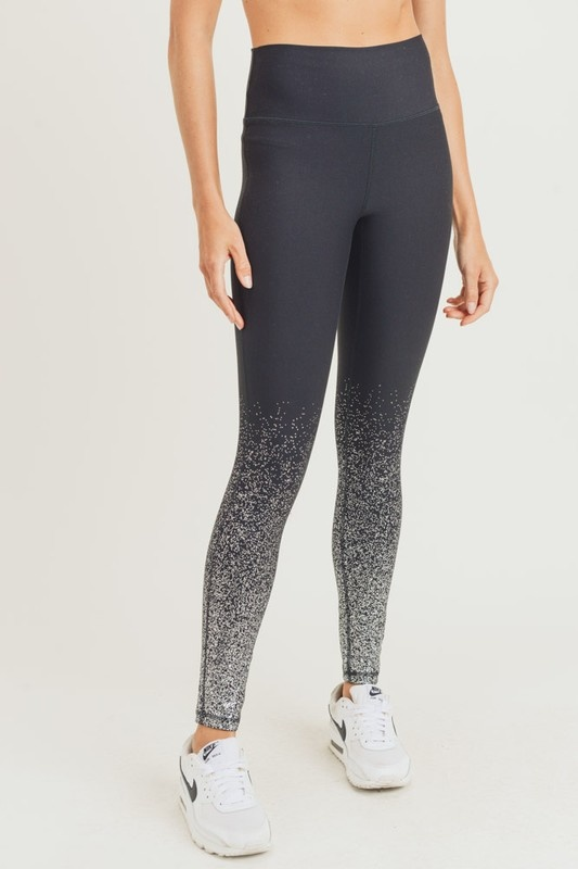 Black/Silver high waisted leggings with foil dots