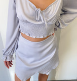 Lt. Grey LS Smocked Crop Top