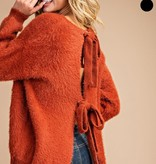 Brick Fuzzy Knit Open Back Sweater